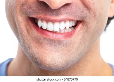 Happy smiling man. Dental health. Healthy teeth.