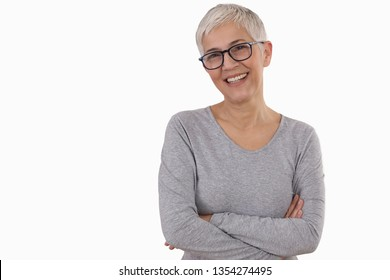Happy Smiling Mature Woman wearing glasses on white background.