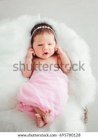 86593063823 Happy Smiling Newborn Baby Wrap Enjoy Stock Photo (Edit Now ...