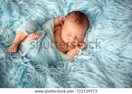 Happy Smiling Newborn Baby Wrap Sleeping Stock Photo Edit Now