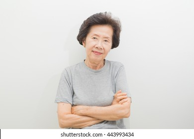happy  smiling old Woman Portrait  with text space.