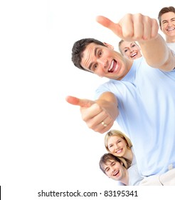 Happy smiling people. Isolated over white background.