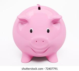 Happy smiling pink piggy bank 3d render