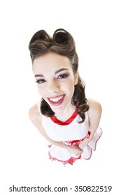 Happy, smiling, pinup girl with hair in victory rolls.  Shot on white background.