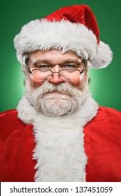 A happy, smiling Santa Claus.