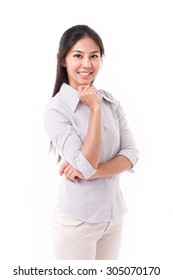 happy, smiling, satisfied asian woman