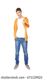 Happy smiling teenager showing thumb up sign on white background