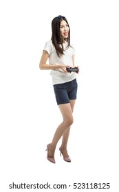 happy and smiling woman in blank white t-shirt isolated on white
