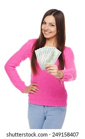Happy smiling woman giving you us dollar money over white background