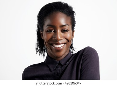 happy smiling woman with ideal teeth