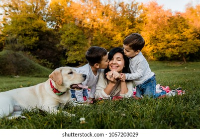happy smiling woman lying on plaid and two sons sitting on grass and kissing  mother and dog on green grass, happy family of 2 kids and mom and dog