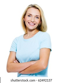 Happy smiling woman portrait with crossed arms - isolated on white