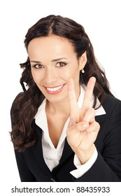 Happy smiling young business woman showing two fingers, isolated on white background
