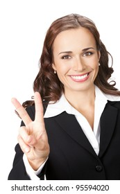 Happy smiling young business woman showing two fingers, isolated over white background