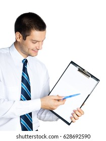 Happy smiling young businessman showing blank clipboard, isolated on white background. Success in business, job and education concept shot.