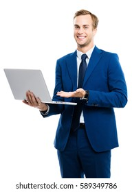Happy smiling young businessman working with laptop monitor, isolated over white background. Success in business concept studio shot.