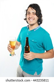 happy  smiling young latino man with beer isolated on white