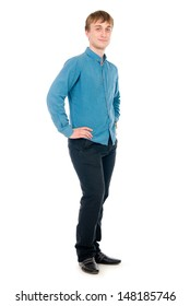 Happy smiling young man standing full length isolated on white background