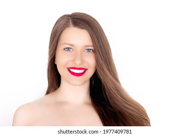 Happy smiling young woman with perfect white teeth and beautiful healthy smile, clean skin and natural makeup, female face portrait with positive emotion, beauty, wellness and skincare ad.