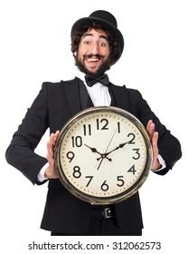 happy smoking man with clock