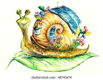 Happy snail in eco-house.Picture I have created myself with watercolors.
