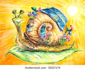 Happy snail in his eco-house.Picture  have created myself with watercolors and colored pencils.