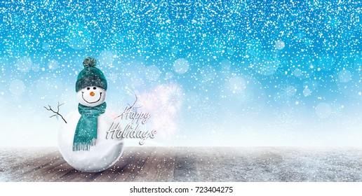 Happy Snowman Christmas background 3D Rendering, 3D Illustration