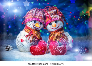 Happy Snowman, Christmas holiday New Year Design . Background decoration Handmade. Snowflakes, Colorful Art Greeting Card.