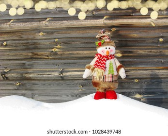 happy snowman christmas winter greeting card with snow on background