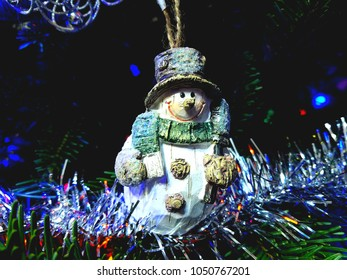 Happy Snowman holiday Christmas tree  ornament.