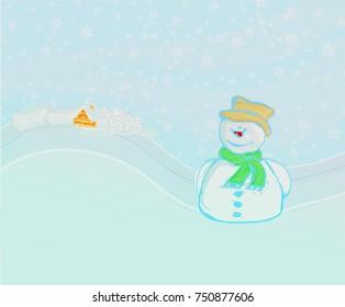 Happy snowman on winter landscape