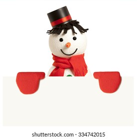 Happy snowman presenting empty banner isolated on white background
