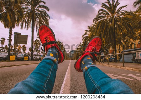 Happy Socks Palm Trees On Middle Stock Photo Edit Now 1200206434