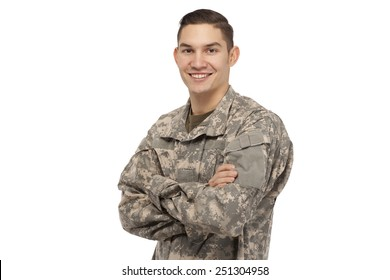 Happy soldier with arms crossed