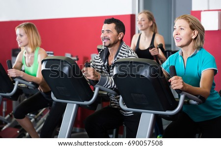 Happy spanish adults gym working out stock photo edit now