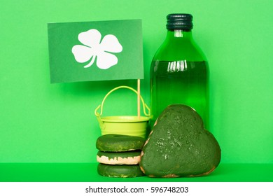 Happy St. Patrick's Day card with holiday attributes