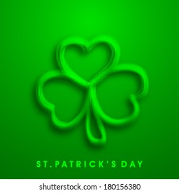 Happy St. Patrick's Day celebrations concept with beautiful Irish luck shamrock leaf on green background.