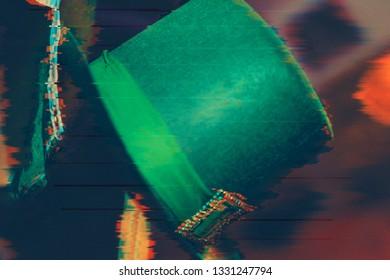 Happy St Patricks Day green leprechaun hat glitch effect