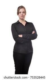 happy standing bisiness woman looking at camera