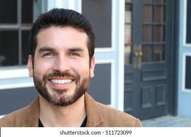 Happy stubble guy with blue eyes, portrait
