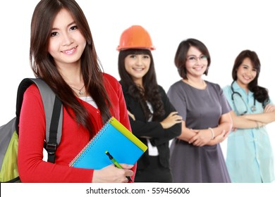 happy student with books dreaming about success. three people with different profession at the background