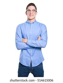 Happy student with crossed arms against white background