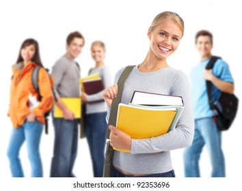 Happy student girl with book and a group of students. Isolated over white background.