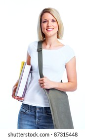 Happy student girl with book. Isolated over white background.