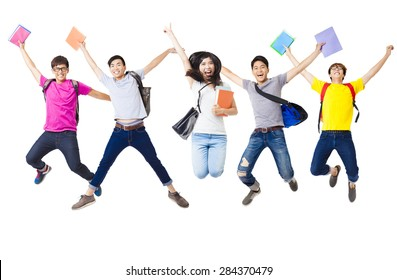 Happy  student group  jumping together