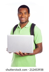 Happy student holding a laptop, isolated on white background