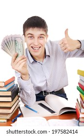 Happy Student with a Money at the School Desk on the white background