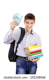 Happy Student with Russian Currency Isolated on the White Background
