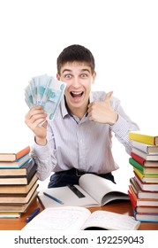 Happy Student with Russian Currency at the School Desk on the white background