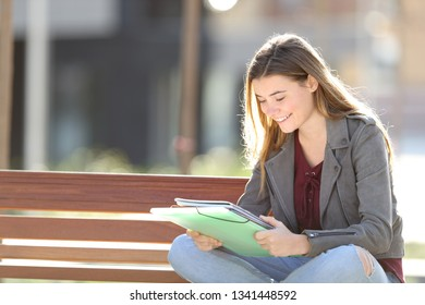 Happy student is studying reading notes sitting on a bench in a park